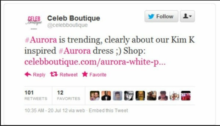 Celeb Boutique Aurora Tweet