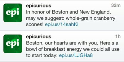 epicurious Boston Bomb Tweets