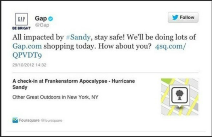 Gap Hurricane Sandy Tweet