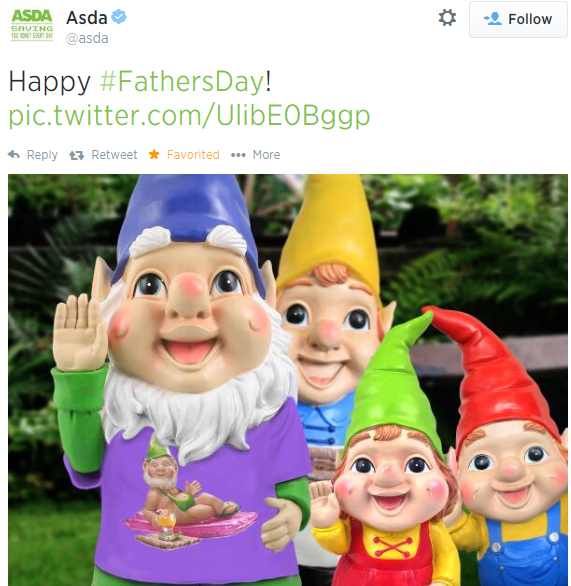 Asda Father's Day gnomes