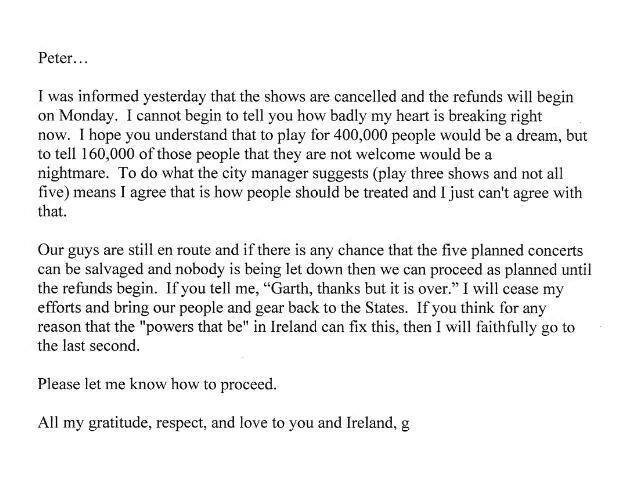 Garth Brooks Statement