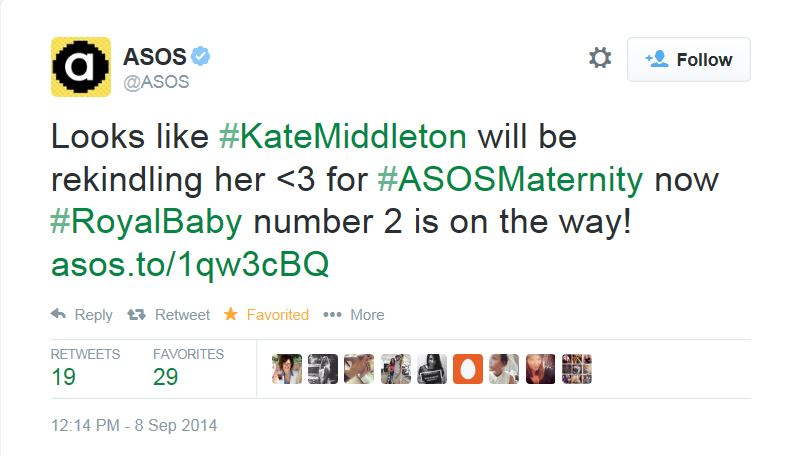 ASOS Royal Baby Tweet