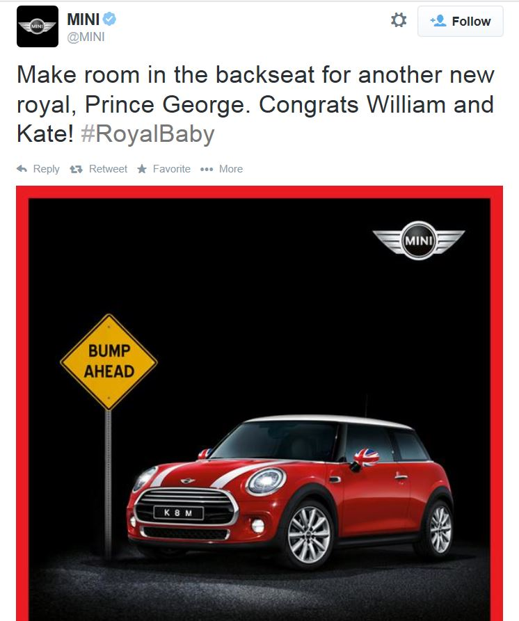 BMW Mini Royal Baby Tweet