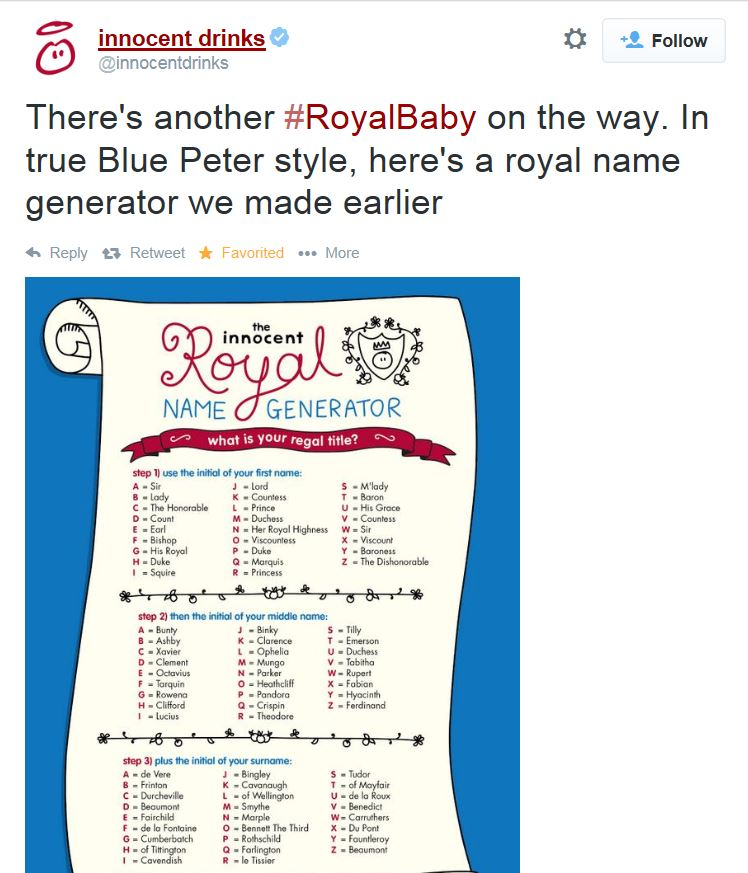 Innocent Drinks Royal Baby Tweet