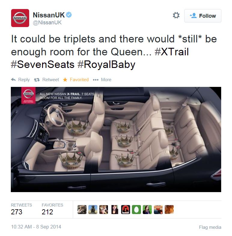 Nissan UK Royal Baby Tweet