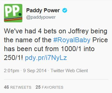 Paddy Power Royal Baby Tweet