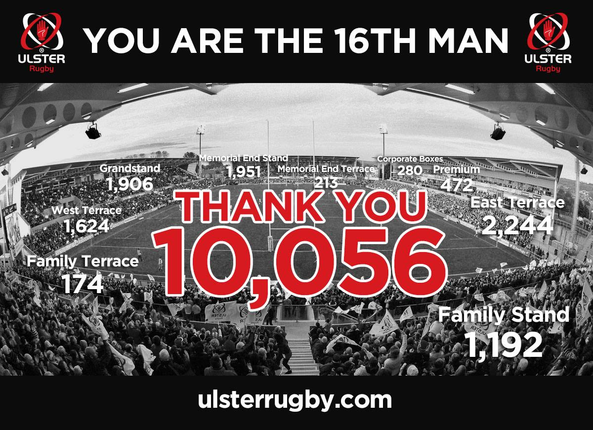 Ulster Rugby Season Tickets Sold 2014
