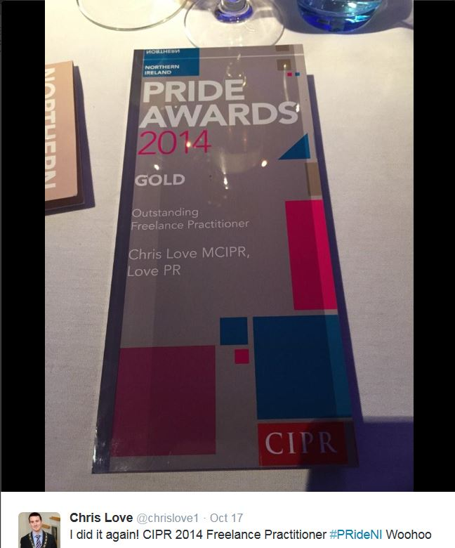 Chris Love CIPR Pride Award 2014